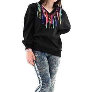 RAFAEL Vintage Fringe Confetti Sweatshirt #BQ16